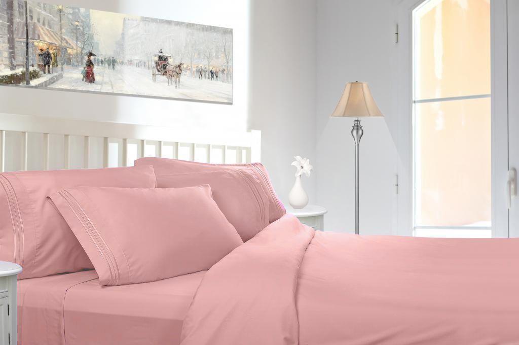 Egyptian-Comfort-1800-Count-4-Piece-Deep-Pocket-Bed-Sheet-Set--Peach