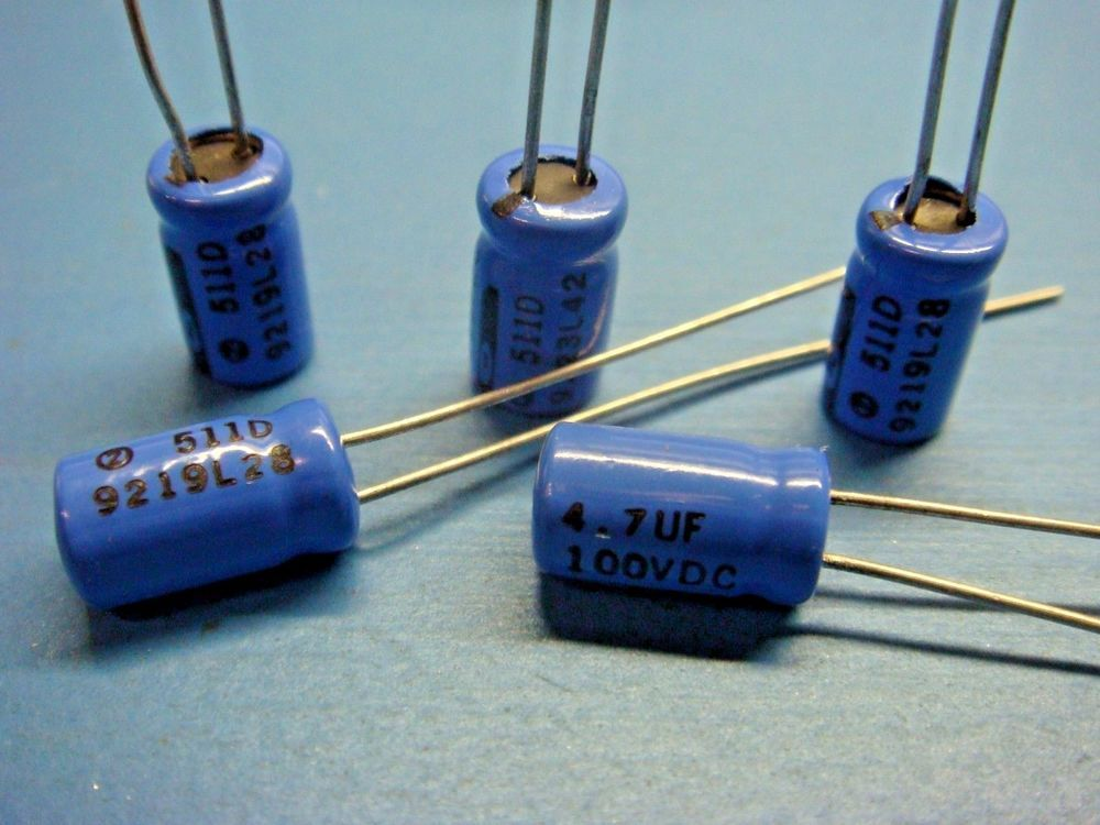 (5) SPRAGUE 511D475M100AA4D 4.7uf 100V 105° RADIAL ELECTROLYTIC CAPACITOR #SPRAGUE