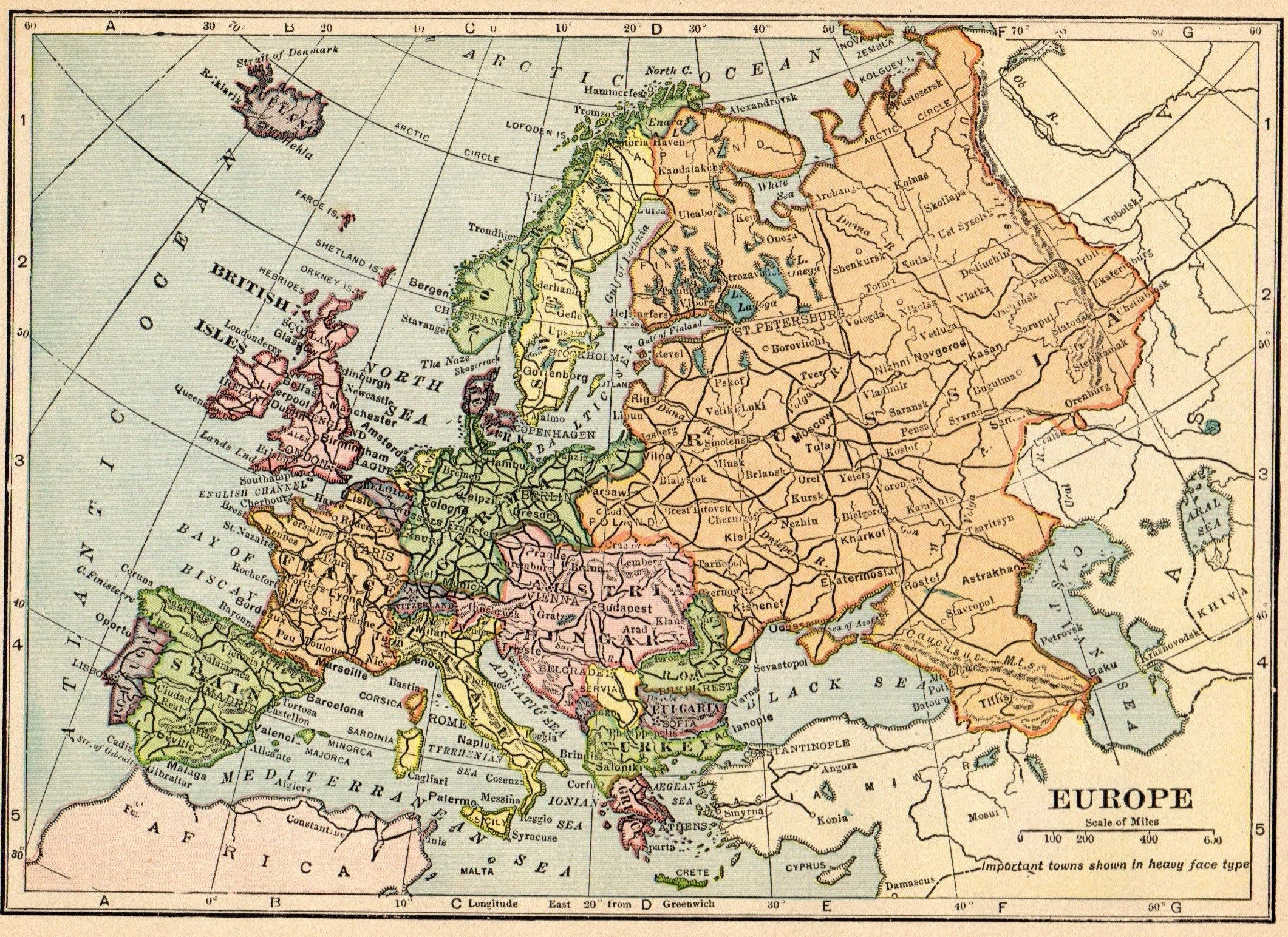 1913 Antique EUROPE Map Vintage Map of EUROPE Gallery Wall ...