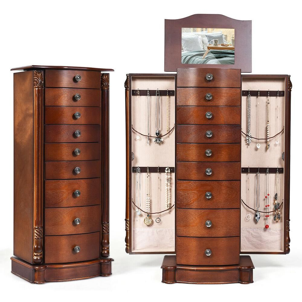 Costway Wood Jewelry Cabinet Armoire Box Storage Chest Stand Organizer Christmas Gift Walnut Brown In 2020 Jewelry Cabinet Storage Boxes Woodworking Furniture Plans