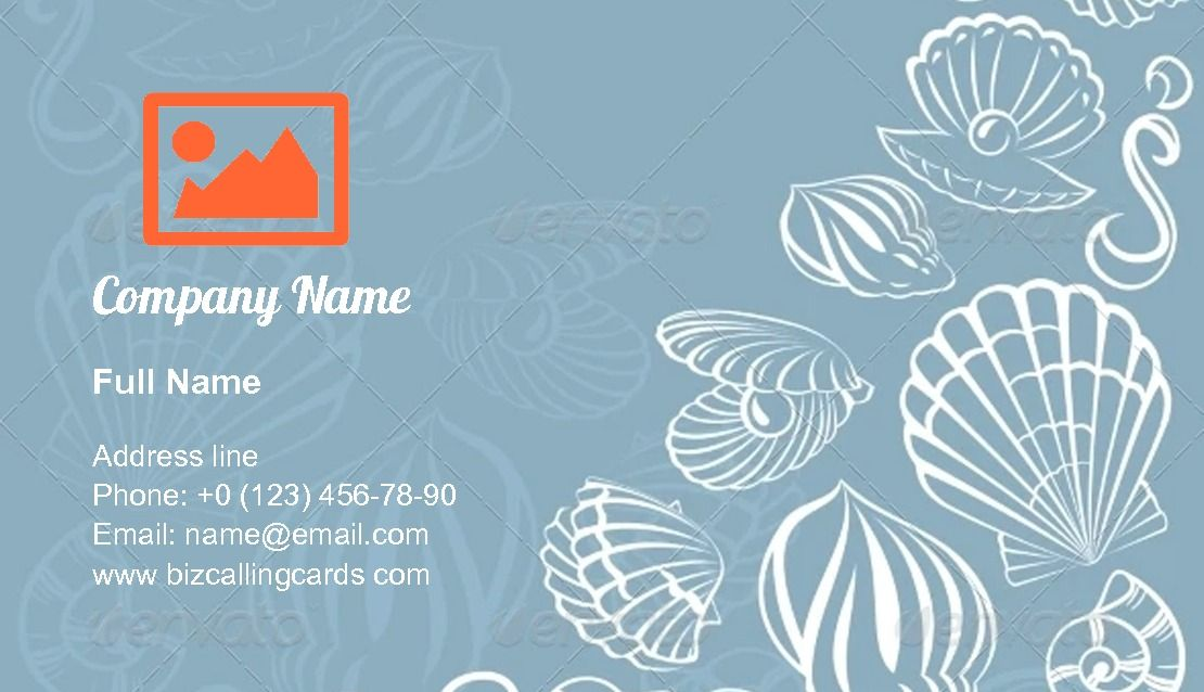 Seashell Marine Element Business Card Template Business Card Template Card Template Cards