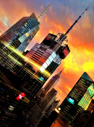 Sunset over Times square NYC. Nyc times square, Places