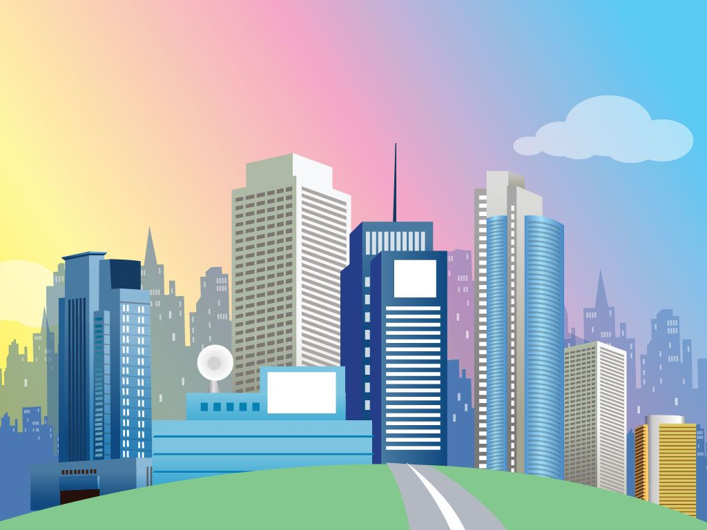 Cities Vectors And Grid With Buildings Images Background