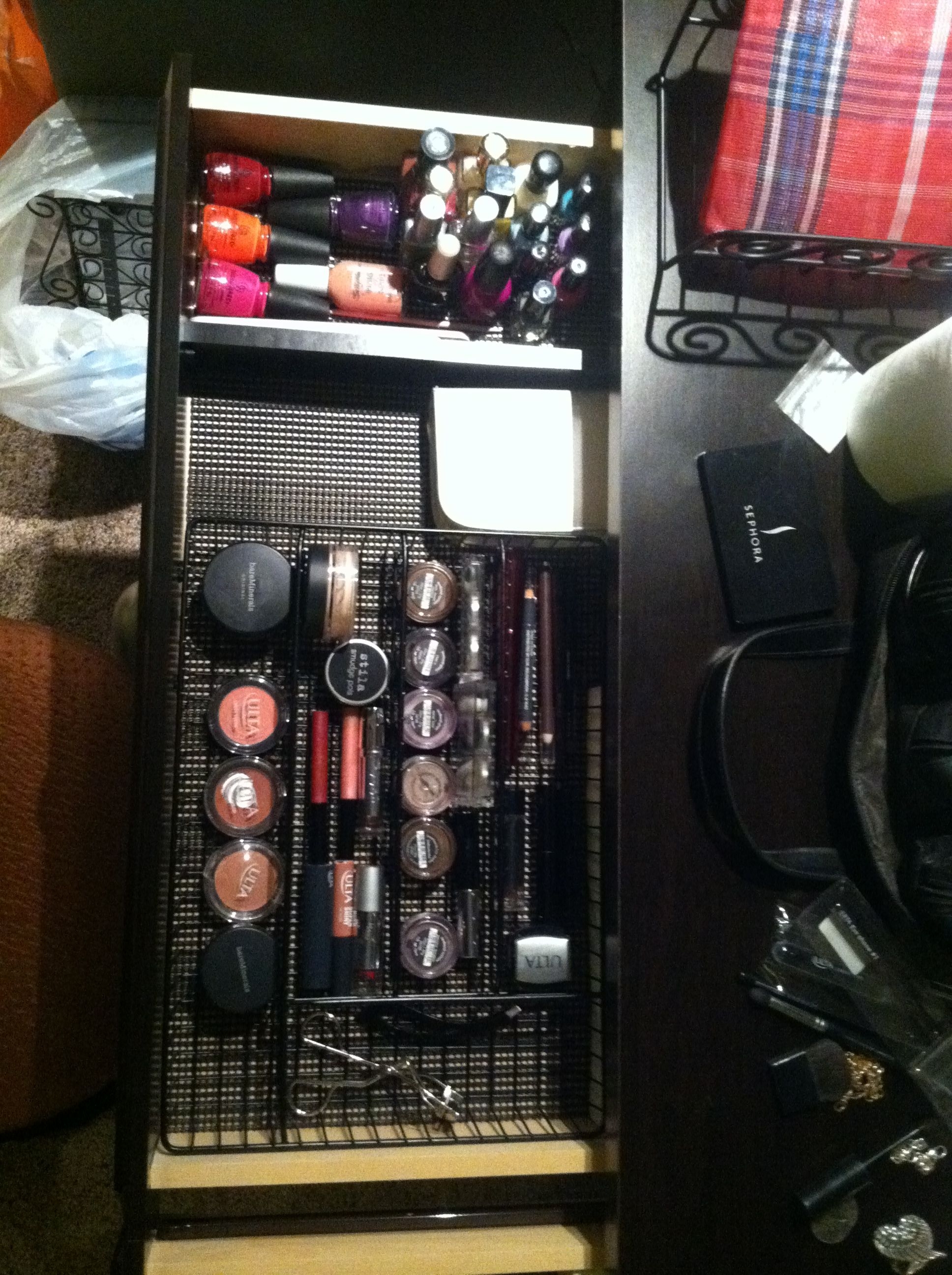Make-up organization. Use small baskets that would normally be used for a junk drawer.