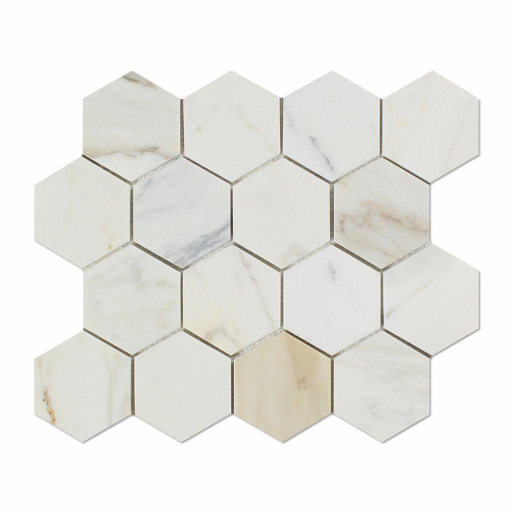 Calacatta Gold Marble Honed 3 Hexagon Mosaic Tile Hexagonal Mosaic Calacatta Gold Marble Hexagon Mosaic Tile