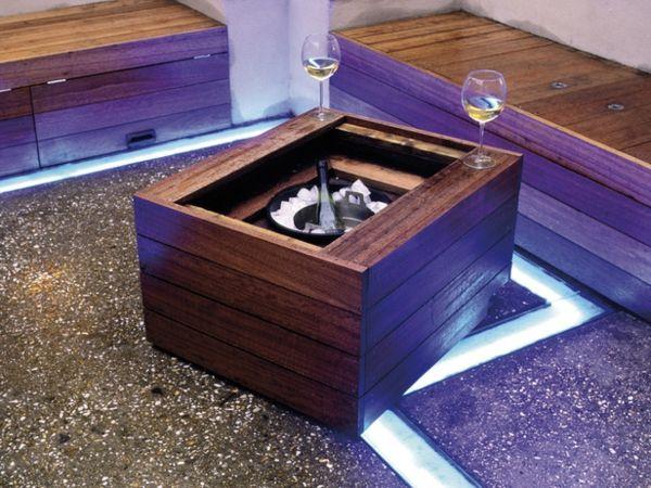 Garten Tisch Boden Beleuchtung selber bauen Holzkasten Détente