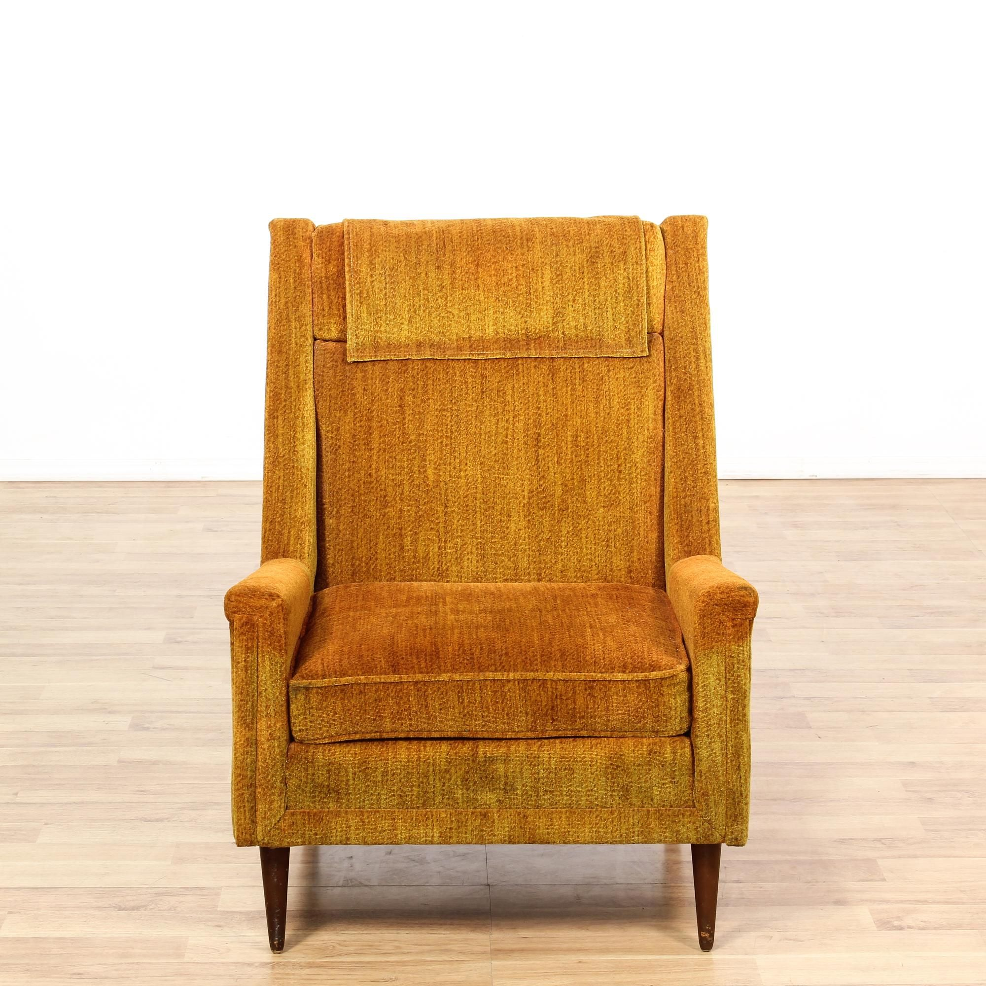 Burnt Orange Upholstered Mid Century Club Chair With Images