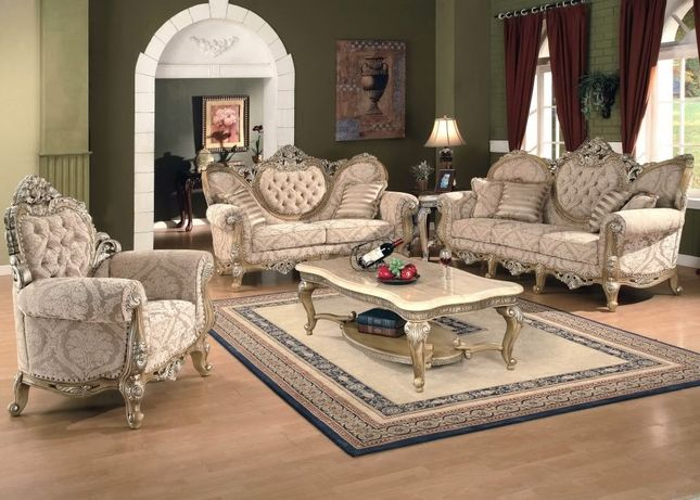 Kalonice luxury victorian formal living room furniture set for Formal sofa sets