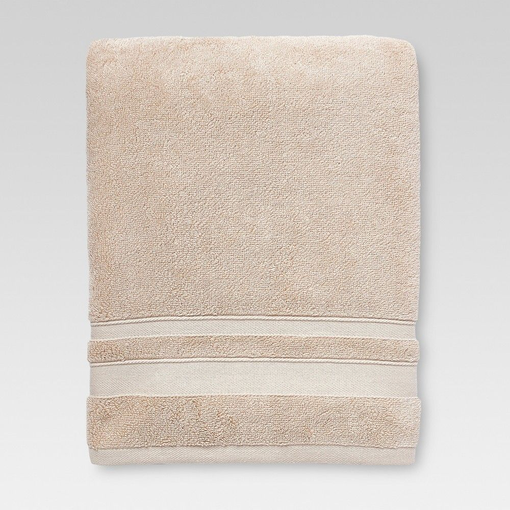 Performance Solid Texture Bath Towel Tan Threshold Bath Towels