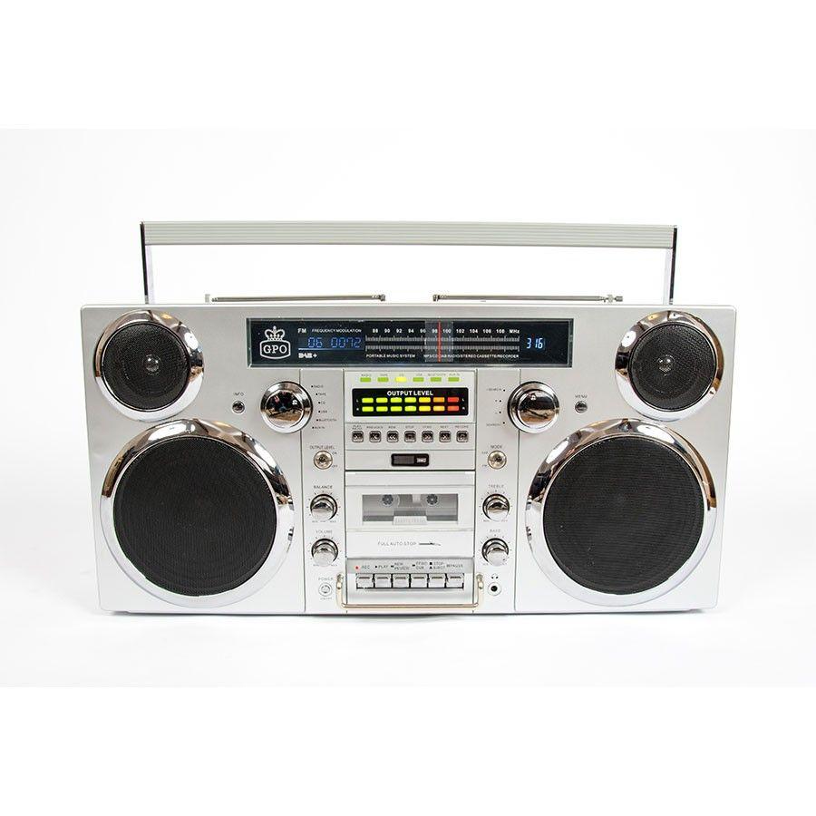 GPO Brooklyn Portable Boom Box Music System - Silver