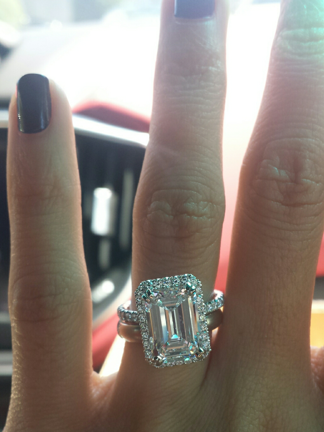 3 carat emerald cut on size 4 finger update Weddingbee Wedding