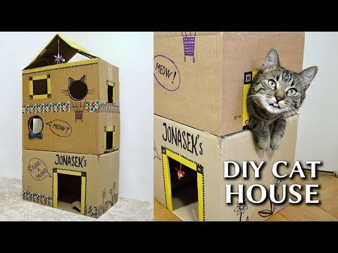 Your Cat Will Love To Play Through Her Very Own House Which You Can Construct From Three Cardboard Boxes In Just A Cat House Diy Cardboard Cat House Cat House