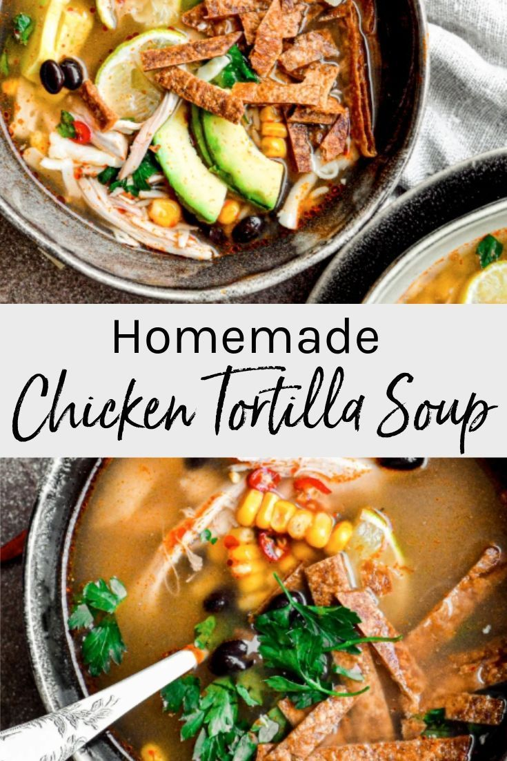 Bold south of the border flavors in this easy homemade Chicken Tortilla Soup! This simple and delicious soup recipe is perfect for the colder months. #chickensoup #mexicanflavor #tortillasoup #easychickensoup #chickentortillasoup