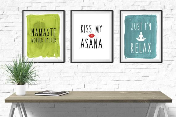 Yoga Quotes Kiss My Asana Printposter  Yoga Quote  Yoga Quotes Asana And Yoga