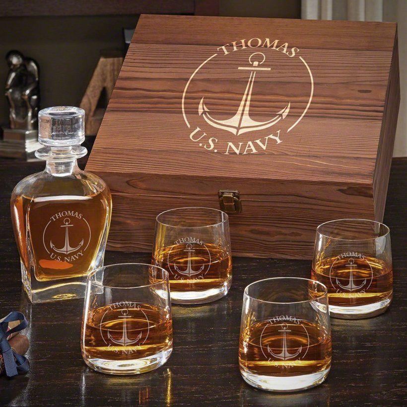 Naval Anchor Draper Decanter Custom Whiskey Set With Benson Glasses Gift For Navy Whiskey Gift Set Whiskey Gifts Whiskey Lover Gifts