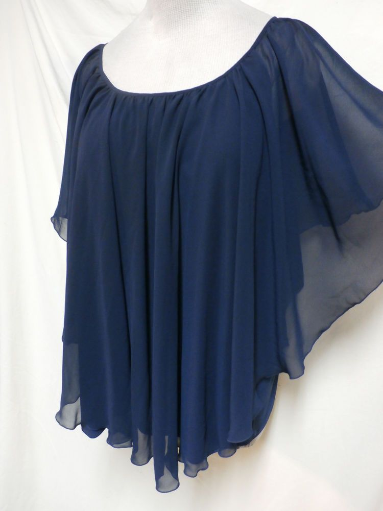 377f8134395 Cato Plus Size Navy Blue Sheer Poncho Style Easy Care Blouse 22 24W or 2X   Cato  PonchoStyleBlouse