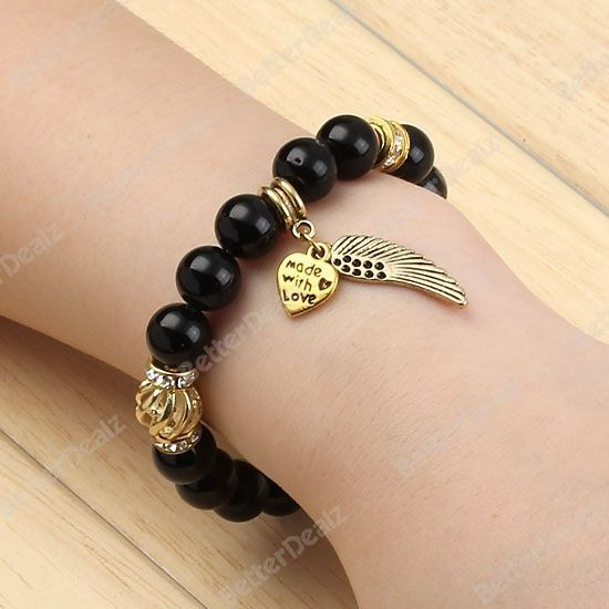 8colors 10mm Alloy Rhinestone Round Ball Gemstone Beads Bracelet Wings Heart Bracelet