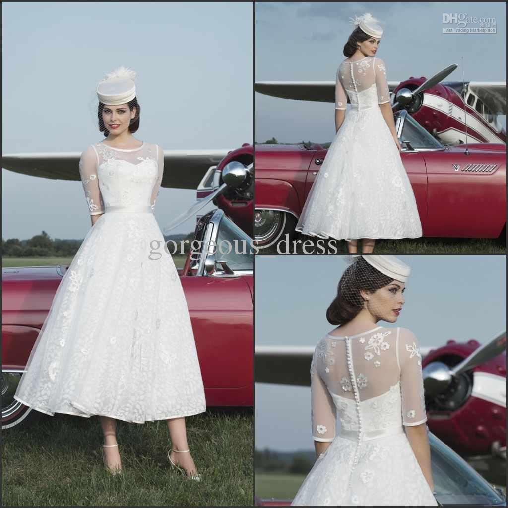 Aline tealength bridal dresses with applique jewel half sleeve
