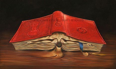 "Story of Love by Vladimir Kush Limited Edition Print Giclee on Canvas, 12"" X 20"", Edition size: 280 In world traditions, a book has always been a metaphor for life. Each page is a day of one's life. Pages turned represent the past. Pages yet to be read are the future. We see a place bookmarked and guess this must be the day the man met the woman. The symbolism of the keyhole inscribed... #VladimirKush #limitededition #metaphoricalrealism #SantaFeNM The Longworth Gallery"