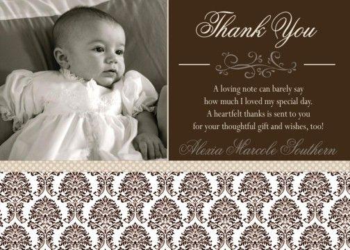 christening thank you wording | ... Damask Baptism Communion ...