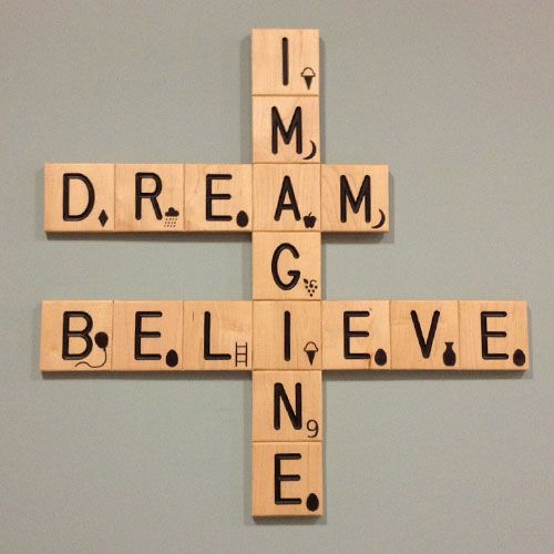 Imagine Believe Crossword Wall Art Scrabble Wall Art Scrabble