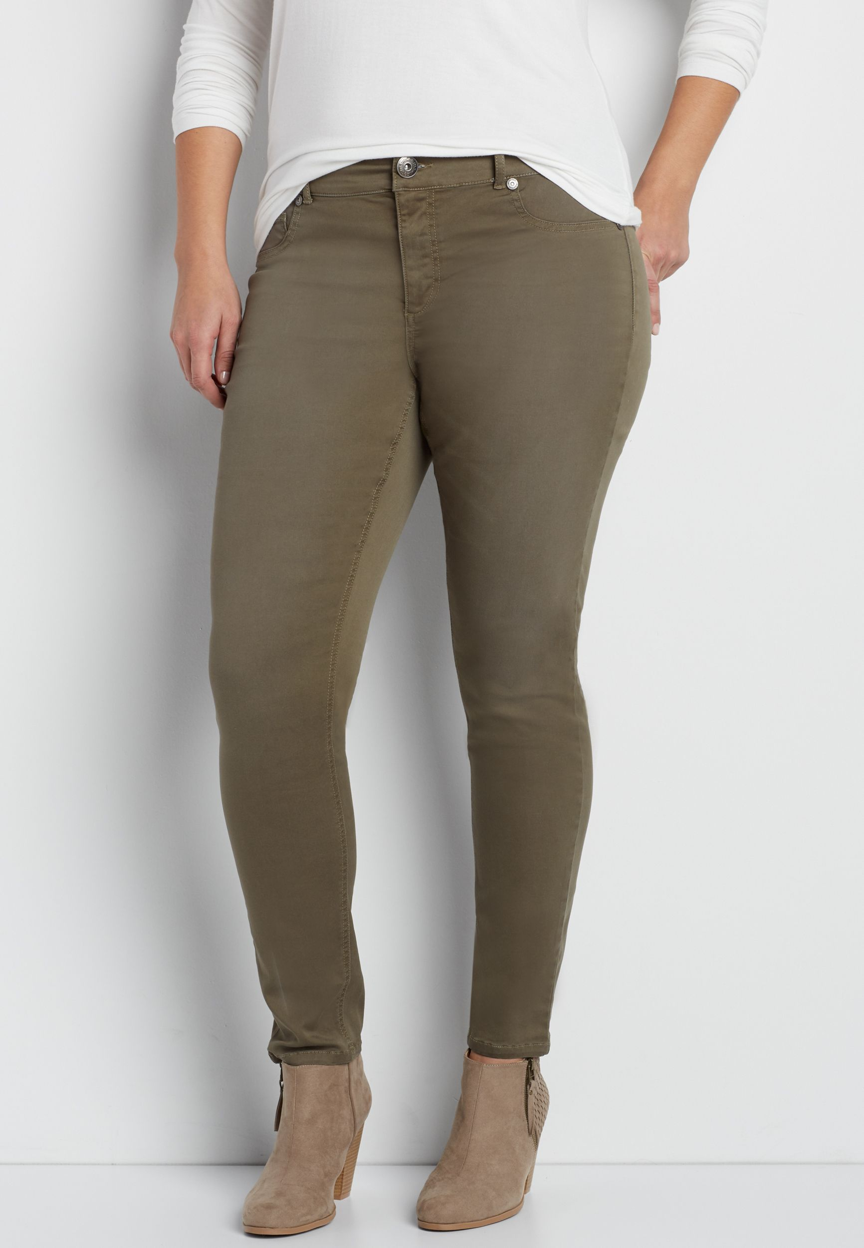 a141ce36a1d08 DenimFlex™ plus size jegging in washed olive green in 2019 ...