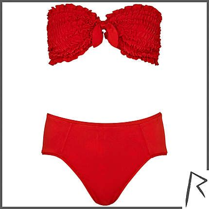 Rihanna for River Island ruched bandeau bikini set #riverisland