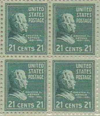 Chester A Arthur Set of 4 x 21 Cent US Postage Stamps NEW Scot 826 . $49.95. Chester A Arthur Set of 4 x 21 Cent US Postage Stamps NEW Scot 826