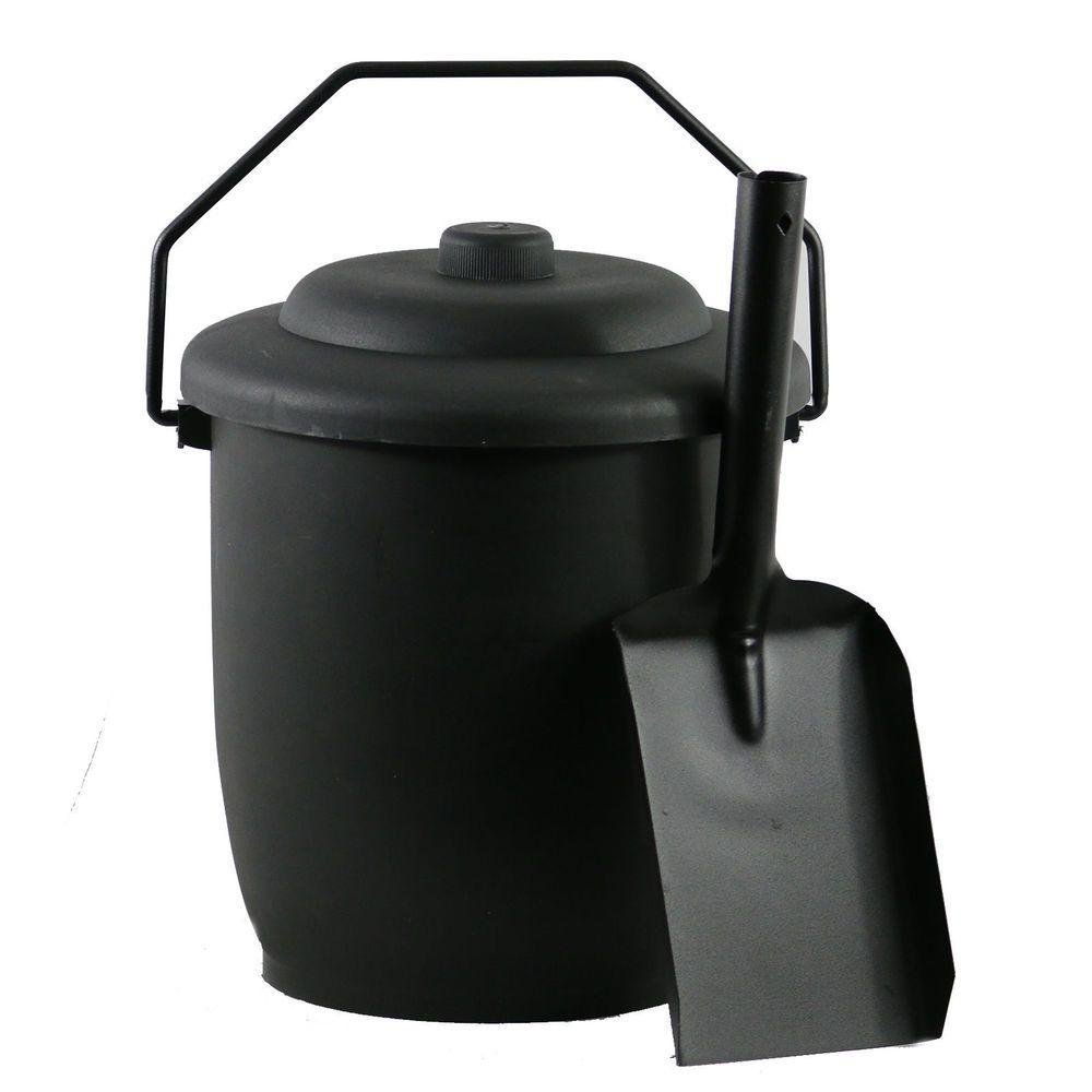 Vintage Antique Black Fireplace Fireside Ash Coal Hod Bucket Scuttle /& Shovel