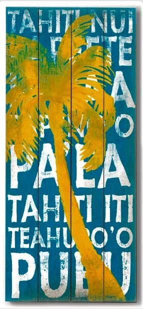 9a86baa394b02 Sign: islands of French Polynesia | tropical art | Vintage beach ...