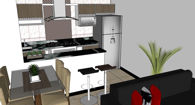 Resultado De Imagem Para Casa Pequena Com Quarto Sala E Cozinha  -> Cozinha Com Sala Conjugada