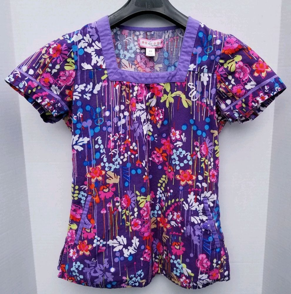 e9969b54b08 Koi Purple Floral Scrub Top Women's Size XS Extra Small Square Neck 2  Pockets #Koi