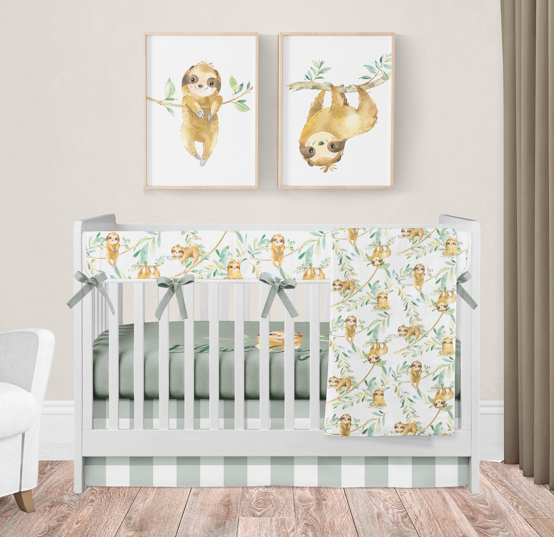 Sloth Crib Bedding Baby Nursery Set Personalized Crib ...