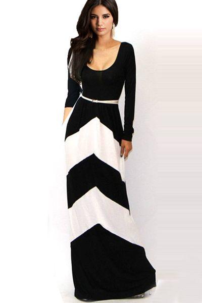 959760fc24e6b Black And White Floor Length Long Sleeve Dress | ☆♥☆ Fashion ...