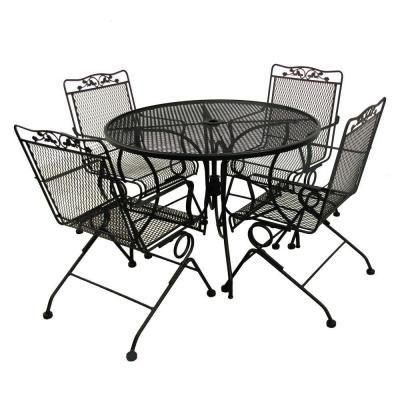 Arlington House Glenbrook Black 42 In Round Mesh Patio Dining Table 8243000 0105000 The Home Depot