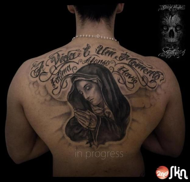 Lettering back madonna tattoo by 2nd skin madonne for Tattoo second skin