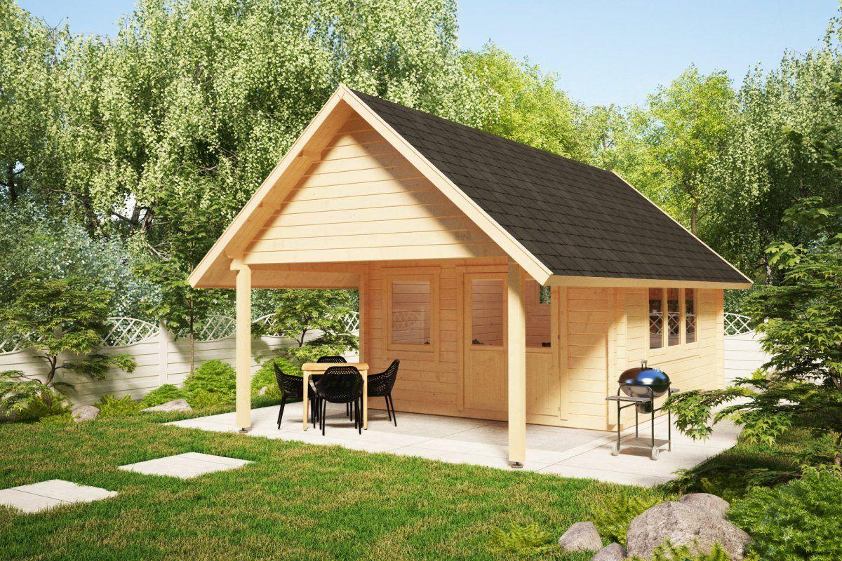 Gartenhaus Mit Vordach Mark 16m 44mm 4x4m Hansagarten24 Gartenhaus Haus Gartenhaus Mit Terrasse