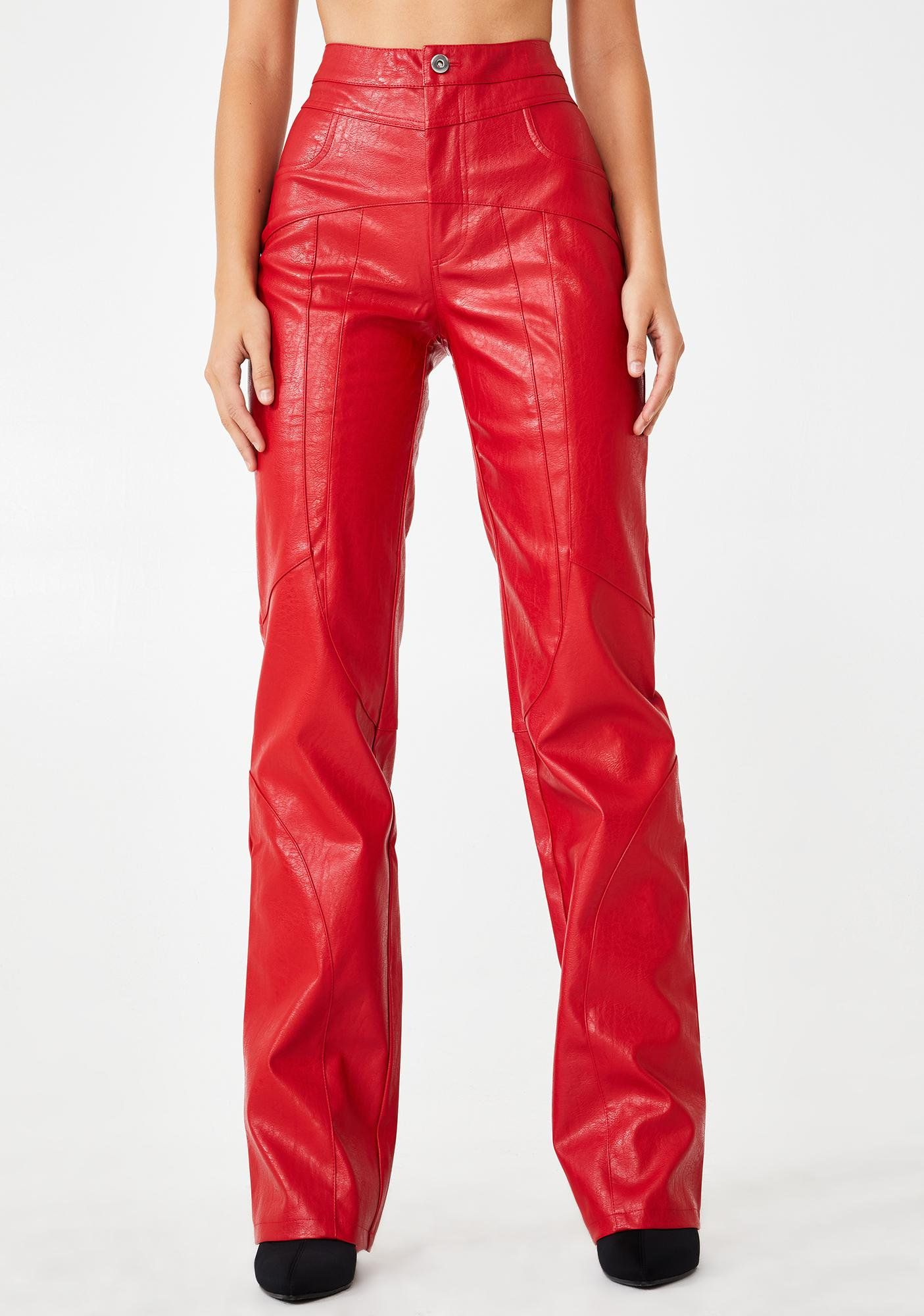 Red York Faux Leather Pants Red leather pants, Leather