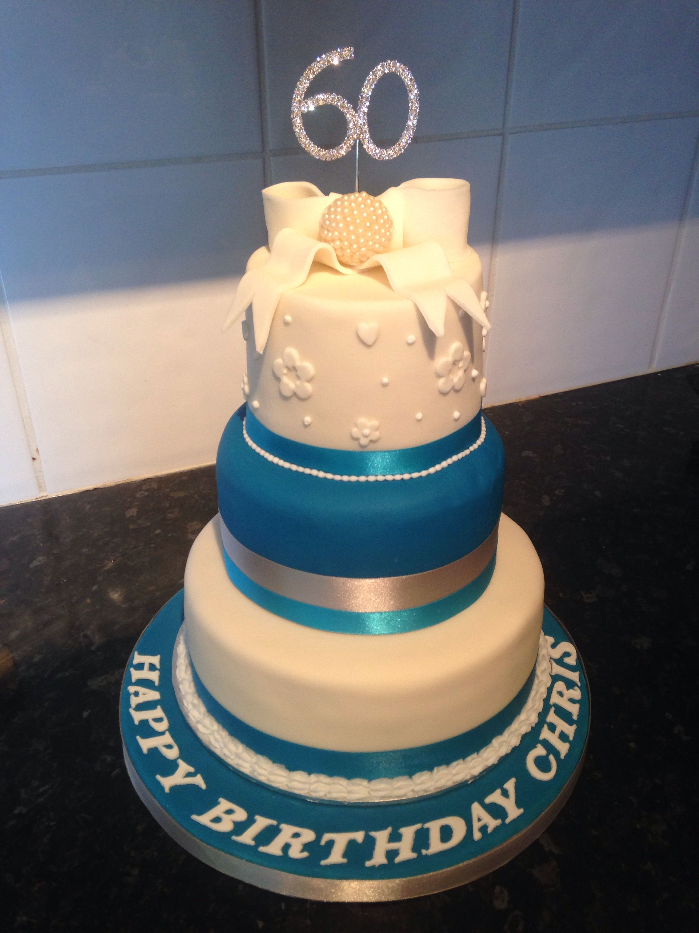Terrific 60Th Birthday 3 Tier Cake With Bow Topper Blue And Silver With Funny Birthday Cards Online Necthendildamsfinfo
