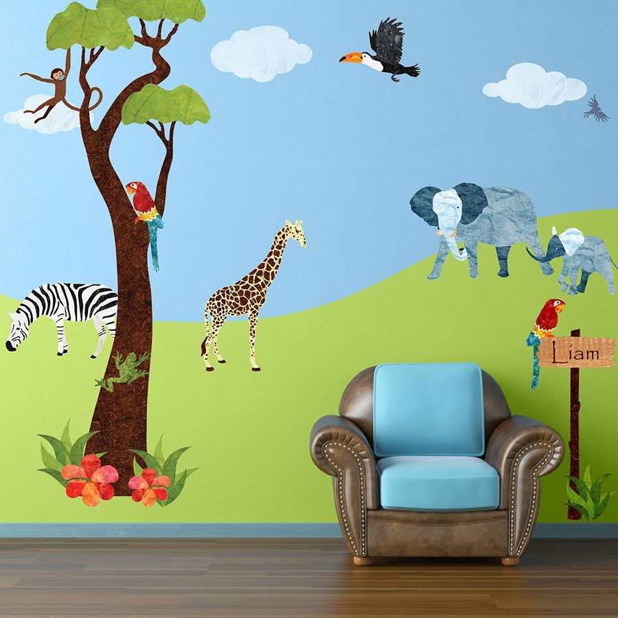 Jungle Safari Wall Decal Sticker Kit JUMBO SET Wall Sticker - Jungle themed nursery wall decals
