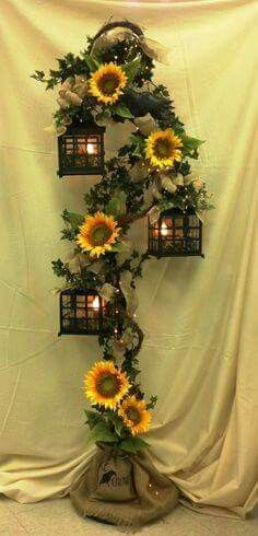 Pin by diana simona on toamna pinterest sunflowers weddings and burlap and sunflower gorgeous 3 tier lantern with burlap sunflowers and crows junglespirit Choice Image