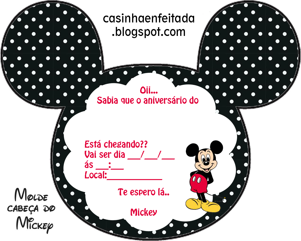 Convites De Aniversario Do Mickey Para Imprimir Convite