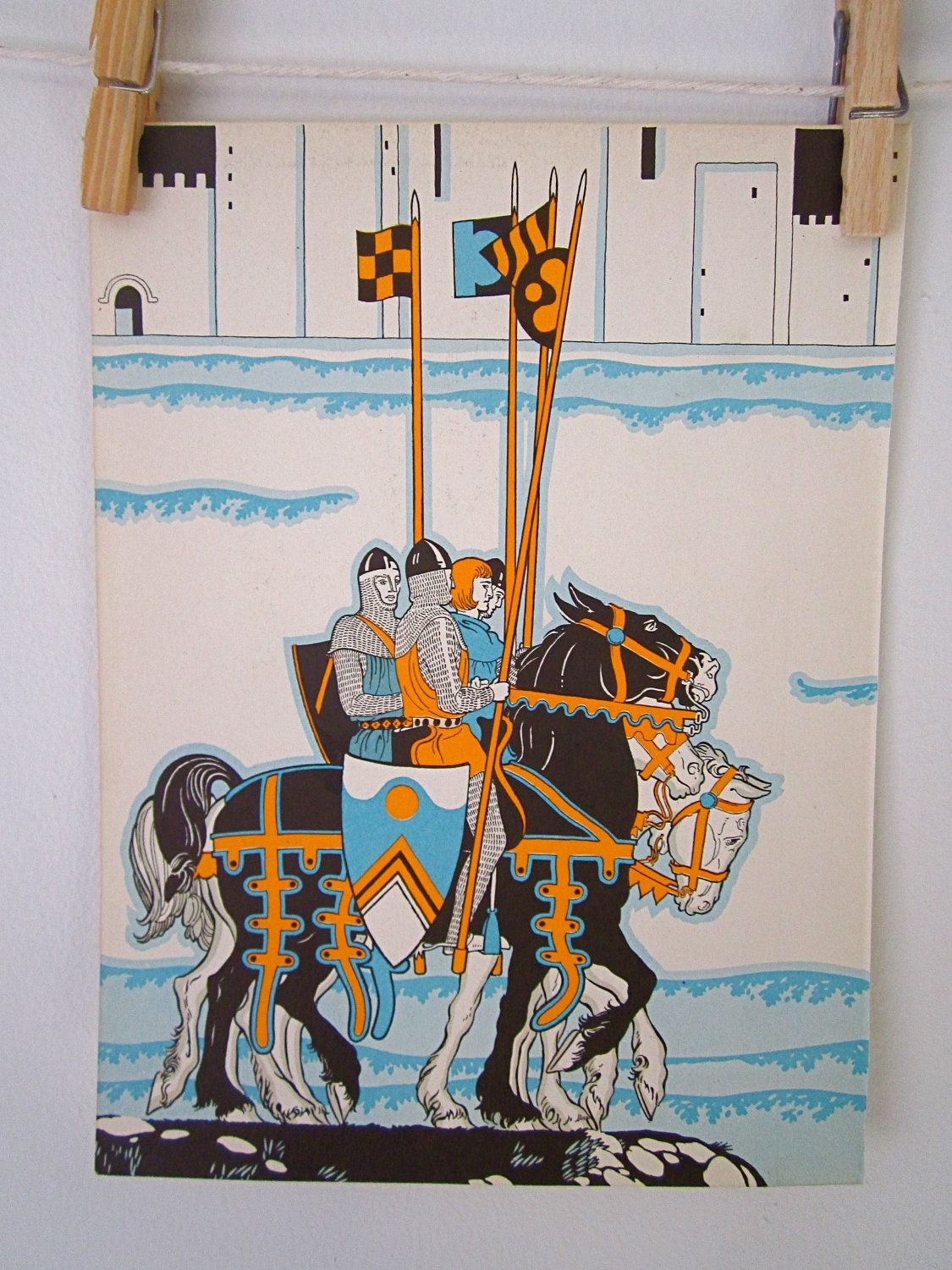 1930\'s Vintage Children\'s Textbook Page with Knight Illustration ...