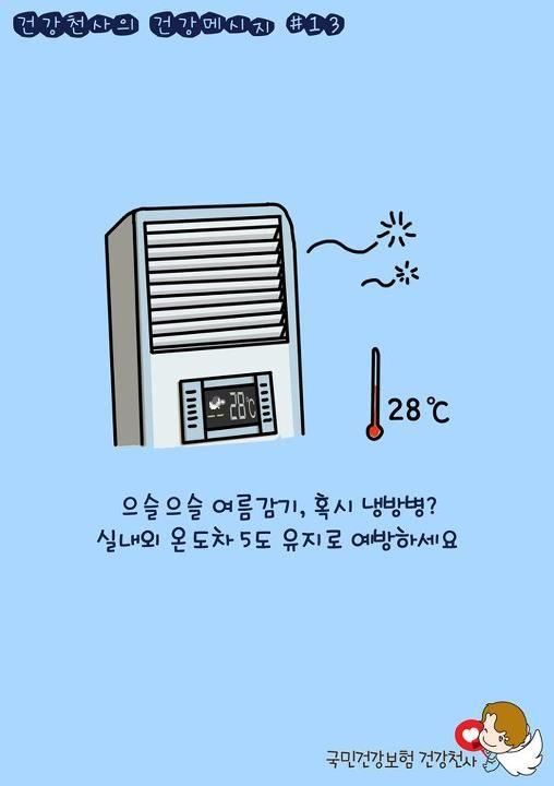 건강천사의 건강메시지 열세번째!    올 해는 때 이른 더위에 전력난까지 심해질 예상이라고해요.  공공기관은 28도, 그 외 사무실도 제한을 26도 이상으로 유지해달라고 권고가 왔지만, 더위 탓에 더 낮은 온도를 유지하는 곳도 많으시죠~  하지만 실내외 온도차는 5도 정도가 딱 좋다고 해요.    너무 춥게 있으면 「냉방병」에 걸릴 수도 있습니다. 여름감기라고 생각하기 쉬운데, 냉방병은 여름감기와 조금 달라요.  주로 피로, 두통, 소화불량, 설사, 근육통 등을 동반합니다.     냉방병에 관한 모든 것,  건강천사 블로그에서 확인하세요~  블로그 바로가기 ☞ http://blog.daum.net/nhicblog/1075