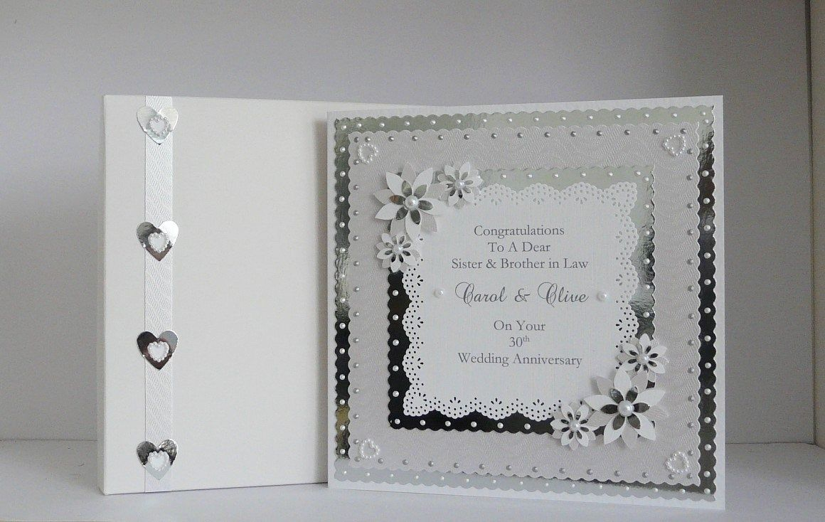 30th Pearl Wedding Anniversary Card for Wife/Husband/Mum & Dad/Friends etc With Box or Envelope Large 8x8 Size Personalised