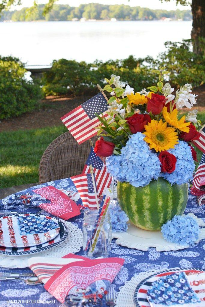 Blooming Watermelon Vase DIY and Patriotic Table | ©homeiswheretheboatis.net #flagweek #4thofJuly #patriotic #centerpiece #DIY #tablesetting #floralfriday