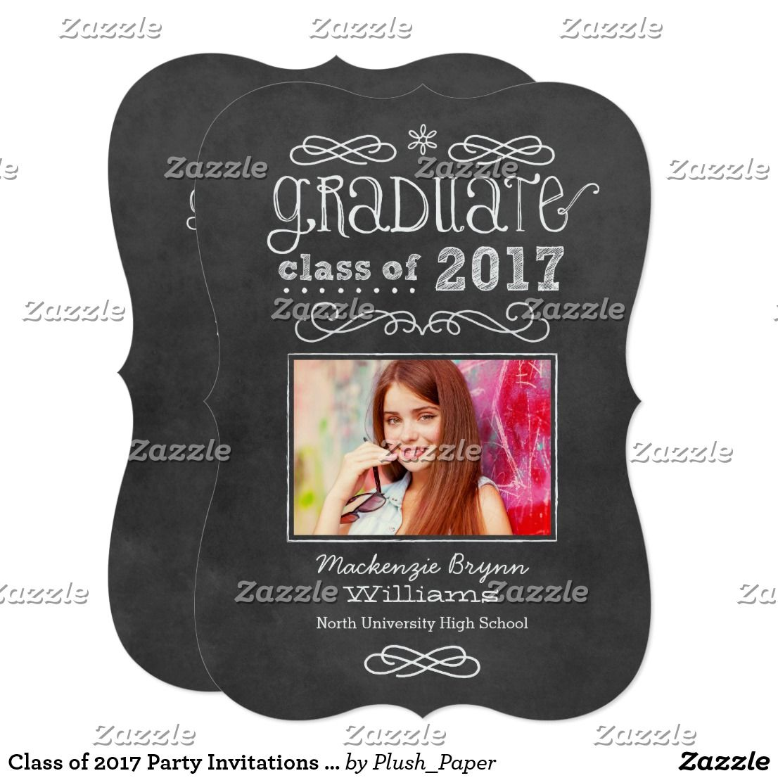 Class of 2017 Party Invitations | Black Chalkboard | Party invitations