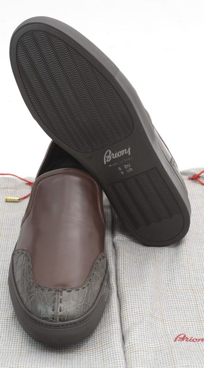 BRIONI Brown Leather Calf Alligator Slip-On Sneakers Shoes Loafers  |  Have at it! http://www.frieschskys.com/footwear  |  #frieschskys #mensfashion #fashion #mensstyle #style #moda #menswear #dapper #stylish #MadeInItaly #Italy #couture #highfashion #designer #shop