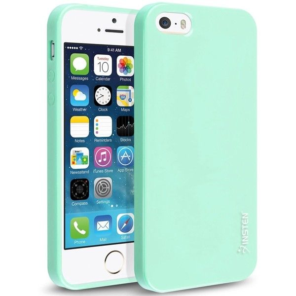 iPhone SE Case, Insten TPU Rubber Skin iPhone 5SE 5S 5 Case, Mint... ($4.89) ❤ liked on Polyvore featuring accessories and tech accessories