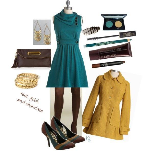 """Teal, gold and chocolate (19)"" by kristin727 on Polyvore"